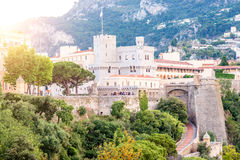 Palace of Monaco. View on Princely Palace of Monaco on the sunset on the french riviera in Monte Carlo royalty free stock photo