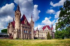 Palace in Moszna, Poland. Fairytale historic palace with 99 towers, Moszna village, Poland stock image