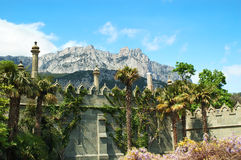 Palace and mountains Stock Images