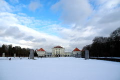 Palace Munich. Winter time in Nymphenburg Park and park, Munich Royalty Free Stock Image