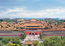 Palace Museum against a cloudy blue sky, Beijing, China. Famous Palace Museum against a cloudy blue sky, Beijing, China royalty free stock photos