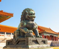 Palace museum scene-Copper lion Royalty Free Stock Photos