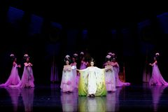 Rainbow and Feather Garment Dance 1-The second act: a feast in the palace-Epic dance drama `Silk Princess`. It is a palace music and dance in the Tang Dynasty stock images