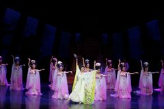 Rainbow and Feather Garment Dance 1-The second act: a feast in the palace-Epic dance drama `Silk Princess`. It is a palace music and dance in the Tang Dynasty stock image