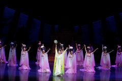 Rainbow and Feather Garment Dance 1-The second act: a feast in the palace-Epic dance drama `Silk Princess`. It is a palace music and dance in the Tang Dynasty stock photos