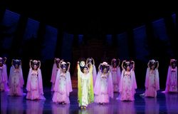 Rainbow and Feather Garment Dance 2-The second act: a feast in the palace-Epic dance drama `Silk Princess`. It is a palace music and dance in the Tang Dynasty Royalty Free Stock Photo