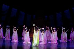 Rainbow and Feather Garment Dance 2-The second act: a feast in the palace-Epic dance drama `Silk Princess`. It is a palace music and dance in the Tang Dynasty Royalty Free Stock Image