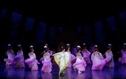Rainbow and Feather Garment Dance 2-The second act: a feast in the palace-Epic dance drama `Silk Princess`. It is a palace music and dance in the Tang Dynasty Royalty Free Stock Photos
