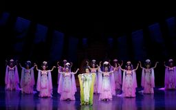 Rainbow and Feather Garment Dance 2-The second act: a feast in the palace-Epic dance drama `Silk Princess`. It is a palace music and dance in the Tang Dynasty stock image