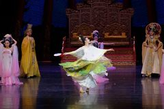 Rainbow and Feather Garment Dance 5-The second act: a feast in the palace-Epic dance drama `Silk Princess`. It is a palace music and dance in the Tang Dynasty stock photography