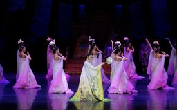 Rainbow and Feather Garment Dance 3-The second act: a feast in the palace-Epic dance drama `Silk Princess`. It is a palace music and dance in the Tang Dynasty stock photo