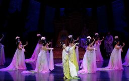 Rainbow and Feather Garment Dance 3-The second act: a feast in the palace-Epic dance drama `Silk Princess`. It is a palace music and dance in the Tang Dynasty Royalty Free Stock Photos