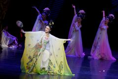 Rainbow and Feather Garment Dance 4-The second act: a feast in the palace-Epic dance drama `Silk Princess`. It is a palace music and dance in the Tang Dynasty Royalty Free Stock Photos
