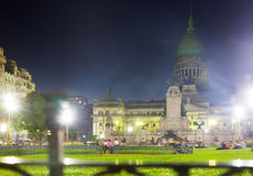 Palace of National Congress in evening. Views of central Palace of National Congress in capital city Buenos Aires in evening Royalty Free Stock Images