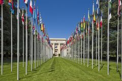 GENEVA, SWITZERLAND -The Palace of Nations stock images