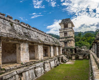 Palace and observatory at mayan ruins of Palenque - Chiapas, Mexico Stock Photography