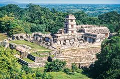 Palace and observatory at mayan ruins of Palenque. Chiapas,. Mexico royalty free stock photography