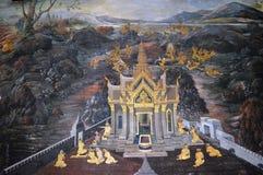 PALACE PAINTING ON THE国王墙壁在曼谷泰国 库存图片