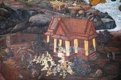 PALACE PAINTING ON THE国王墙壁在曼谷泰国 免版税库存图片