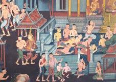 PALACE PAINTING ON THE国王墙壁在曼谷泰国 免版税库存照片