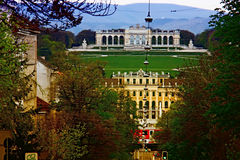 Palace and palace garden Schoenbrunn, Vienna, Austria Stock Image
