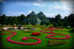 Palace and palace garden Schoenbrunn, Vienna, Austria Royalty Free Stock Images