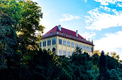 Palace in park. Castle in the three park Royalty Free Stock Image