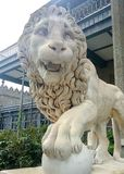 Lions of the Vorontsov Palace. The palace and park of Count Vorontsov on the southern coast of the Crimea Stock Images