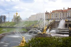 The main fountain Samson of Peterhof  Saint Petersburg Russia Stock Photo