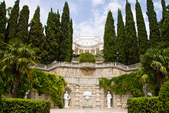 Palace and park in Gaspra. Crimea Royalty Free Stock Photo