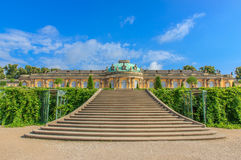 Palace and park Sanssouci, Potsdam, Germany. Germany attractions -The palace and park Sanssouci (Schloss Sanssouci) - residence of Frederick the Great, King of royalty free stock image