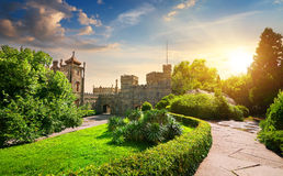 Palace and park. Vorontsov's palace and beautiful green park at sunset stock photo