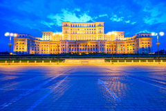 Palace Of The Parliament, Bucharest. Palace Of The Parliament at the sunset, Bucharest, Romania stock image