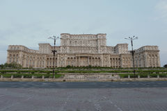 Palace of Parliament Bucharest. Palace of Parliament from Bucharest in the morning with very few shadows on the building. Suitable for sky replacement Royalty Free Stock Photos