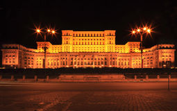 The Palace of the Parliament,Bucharest,Romania. Night image of The Palace of the Parliament, also known as The People's House in the Cheauchesku's era, in stock photography