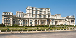 Palace Of The Parliament, Bucharest Romania. Front view of Ceausescu's Palace. Romanian Parliament Bucharest royalty free stock images