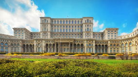 The Palace of the Parliament. Landmark attraction in Bucharest, Romania. Spring landscape Stock Photo