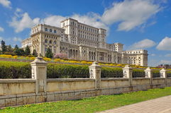 The Palace of the Parliament - Landmark attraction in Bucharest, Romania. Spring landscape Stock Photos