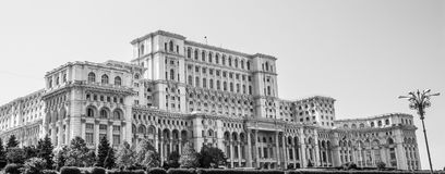 The Palace of the Parliament in Bucharest, Romania. Black and white.  stock image