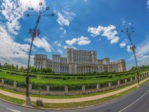 Palace of the Parliament, Bucharest, Romania. Large angle view with Palace of the Parliament, Bucharest, Romania. Palace is the world`s largest civilian building royalty free stock image
