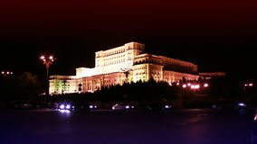 The Palace of the Parliament in Bucharest,Romania,night traffic time lapse, stock footage stock footage