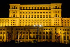 The Palace of the Parliament, Bucharest, Romania.Night view from the Central Square. The Palace of the Parliament, Bucharest, Romania. Night view from the stock photography