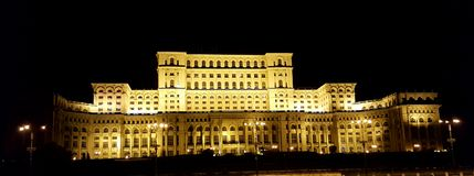 The Palace of the Parliament, Bucharest, Romania. The Palace of the Parliament under night lights, Bucharest, Romania royalty free stock photo