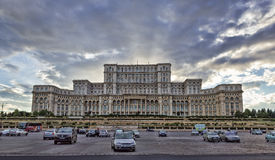 Palace of the Parliament, Bucharest. Sunset at the Parliament royalty free stock photo