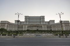 Palace of Parliament in the capital of Romania. stock photo