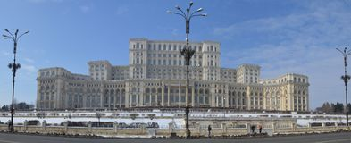 Palace of parliament Bucharest Romania. The Palace of the Parliament Romanian: Palatul Parlamentului is the seat of the Parliament of Romania. Located on Dealul stock images