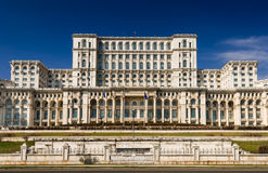 Parliament of Romania building facade, Bucharest. The Palace of the Parliament, the second largest building in the world, built by dictator Ceausescu in royalty free stock photo