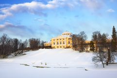 Palace in Pavlovsk in winter day Royalty Free Stock Images