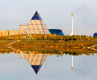 Palace of Peace and Reconciliation in Astana. Palace (Pyramid) of Peace and Reconciliation in Astana, Kazakhstan, at autumn sunset stock photography
