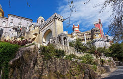Palace of Pena. View of the beautiful of Pena palace in the national park of the Sintra hills in Portugal Royalty Free Stock Images